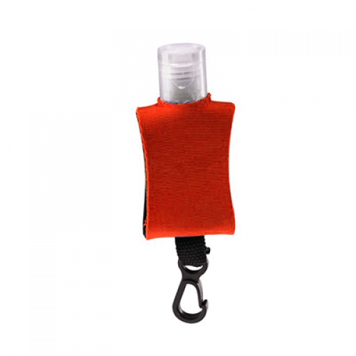 DISPENSADOR DE GEL CON FUNDA DE NEOPRENO ROJO